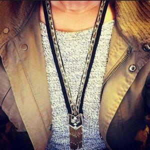 Stella & Dot Nile Necklace - Hand Beaded Black